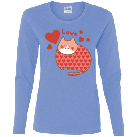 Love Cat Shirt G540L Gildan Ladies' Cotton LS T-Shirt