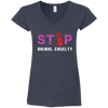 Image of Stop Animal Cruelty G64VL Gildan Ladies' Fitted Softstyle 4.5 oz V-Neck T-Shirt