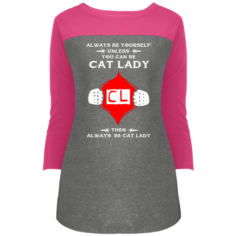 Cat Lady DT2700 District Juniors' Rally 3/4 Sleeve T-Shirt