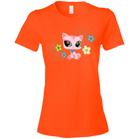 Colorful Cat Shirt 880 Anvil Ladies' Lightweight T-Shirt 4.5 oz