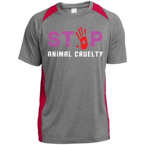 Stop Animal Cruelty ST361 Sport-Tek Heather Colorblock Poly T-Shirt