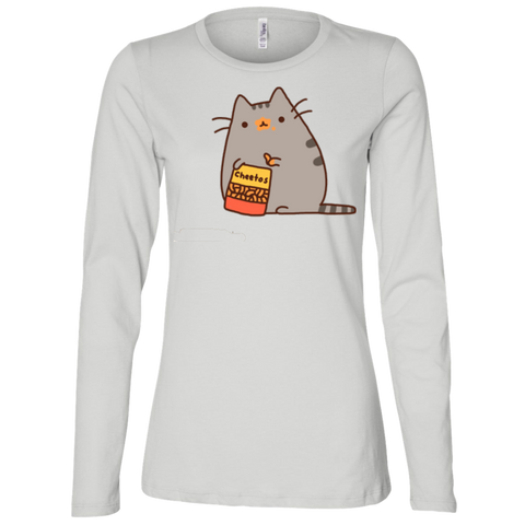Cute Cat Shirts For Women B6450 Bella + Canvas Ladies' Jersey LS Missy Fit