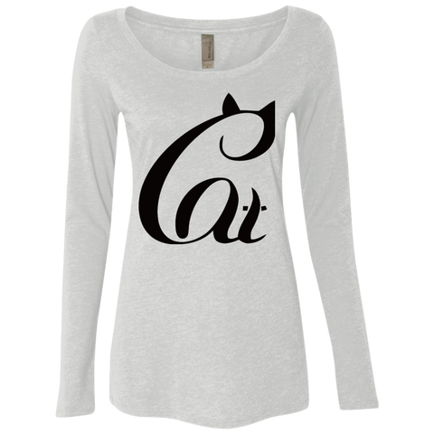 Black And White Cat Shirt NL6731 Next Level Ladies' Triblend LS Scoop