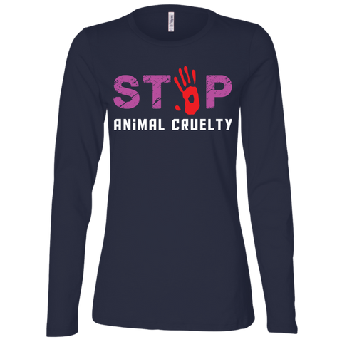 Stop Animal Cruelty B6450 Bella + Canvas Ladies' Jersey LS Missy Fit