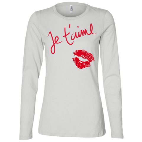 Je t'aime B6450 Bella + Canvas Ladies' Jersey LS Missy Fit