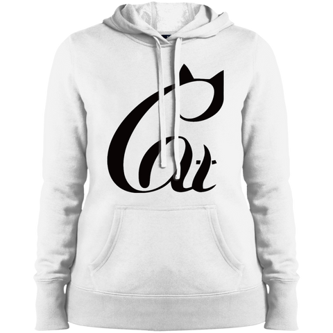 Black And White Cat Shirt LST254 Sport-Tek Ladies' Pullover Hooded Sweatshirt