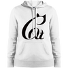 Image of Black And White Cat Shirt LST254 Sport-Tek Ladies' Pullover Hooded Sweatshirt