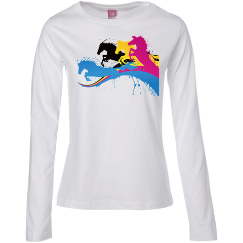 Amazing Horse Shirt 3588 LAT Ladies' LS Cotton T-Shirt