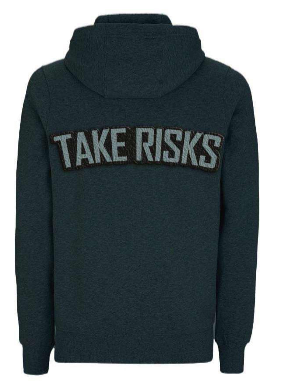 TAKE RISKS - STONE GREYSCALE HOODIE