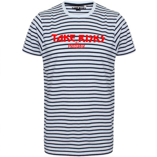 TAKE RISKS & PROSPER | STRIPED T SHIRT - NAVY/WHITE