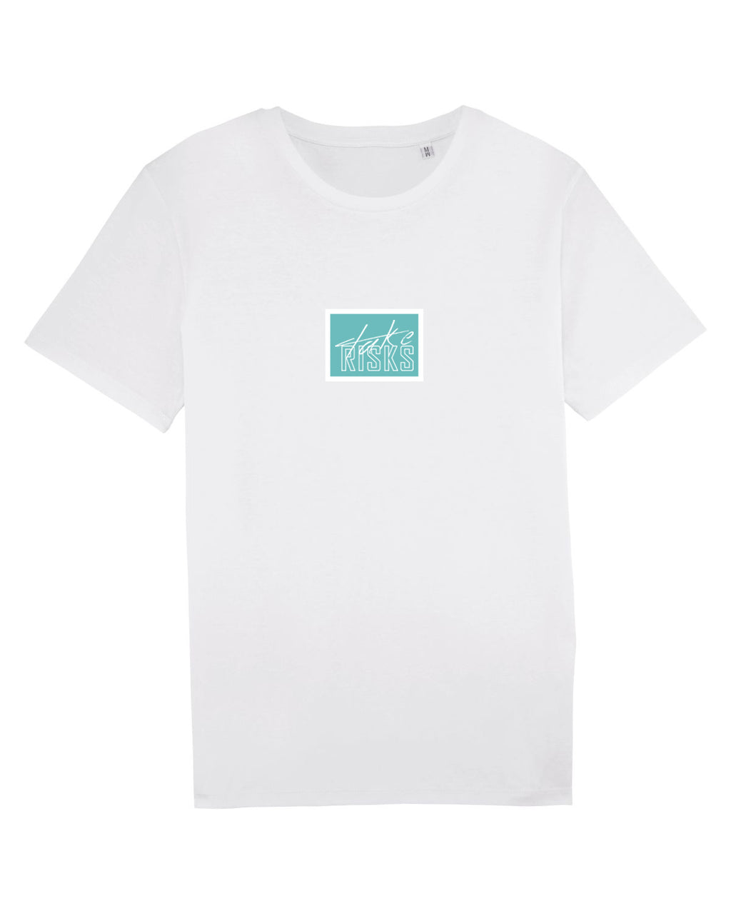 Take Risks White/Turq Patch T-Shirt
