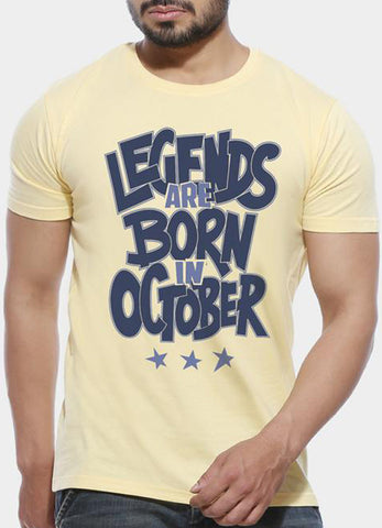 Legends Are Born In October - Half Sleeve T shirt - huuloc