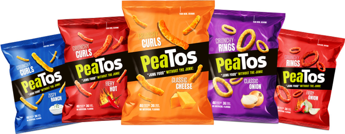 "PeaTos the incredible ""Junk Food"" snack chip made with Peas! More Protein. More Fiber. No Artificial Flavors.."