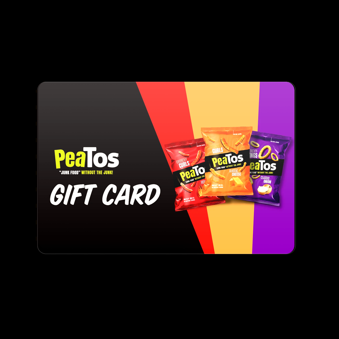 PeaTos.com Digital Gift Card <p class= txt12 >Give the gift of PeaTos this holiday season! When you purchase this gift card, you'll receive a unique code that will function as a digital gift card via email. Tasty snacks await. Gift cards can only be used online on peatos.com.</p> <style><!-- .thumbnail-slider{display:none !important} .product-single__title{font-size: 40px;} .product-single__description{margin-top: -7px;} p.txt12{line-height: 20px;} .pull-right{float:left !important;} .nutrition-chart, .nutritional-facts__wrapper{display:none}  --></style>
