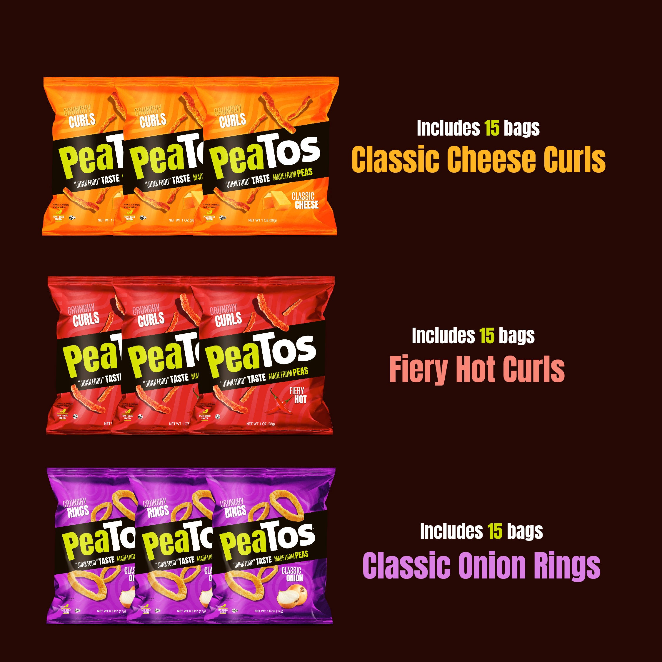 Peatos® best seller 45 bulk pack single serve bags