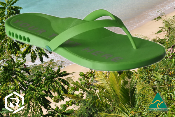 Green Thong on tropical beach background