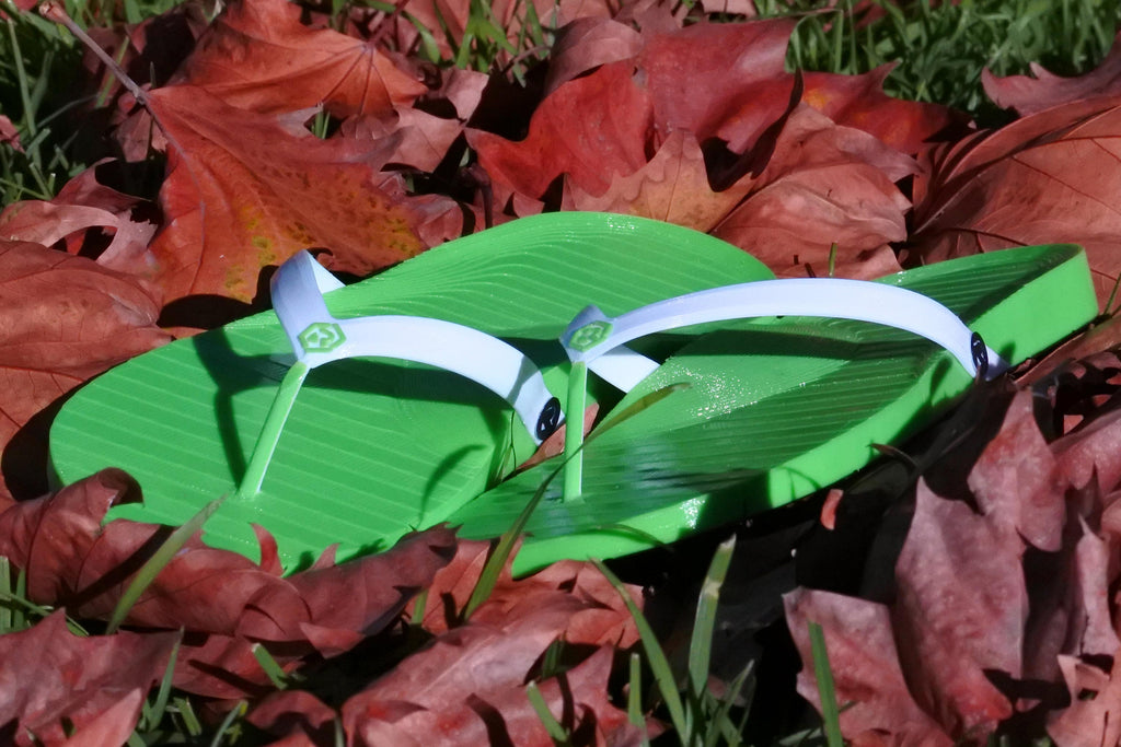 Retraction Footwear 3D Printed Thongs Green with White Strap