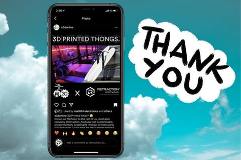 Thanks you note to E3D - instagram post in the clouds