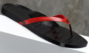 Retraction Footwear 3D Printed Thongs Black on Red