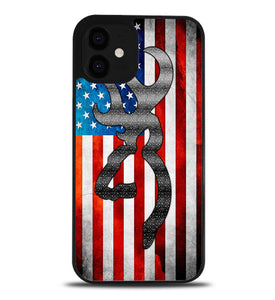 Browning Deer Camo American Flag A1024 iPhone 12 Case