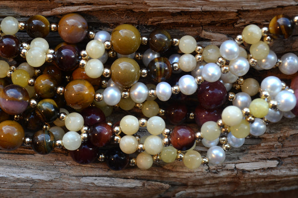 6mm Calcite, 7mm Tiger Eye, 10mm Mookinite & 6mm Pearl with Gold-Fill