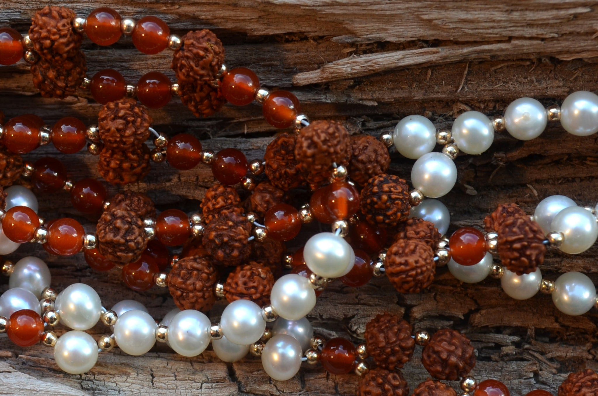 4mm Rudraksha, Carnelian & Pearl with Gold-Fill