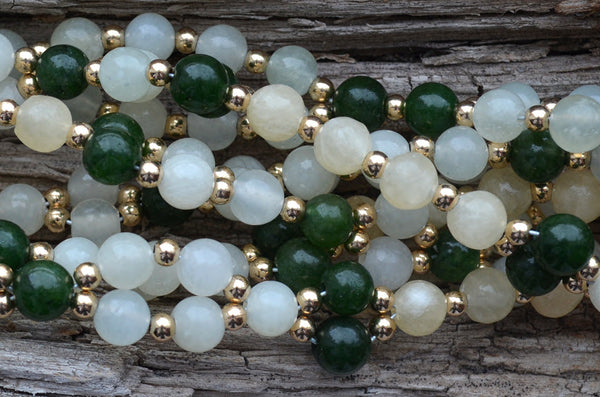6mm New Jade, Nephrite Jade & Yellow Jade with Gold-Fill