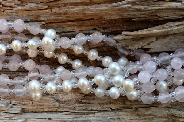 6mm Rose Quartz & Pearl with Czech Crystal