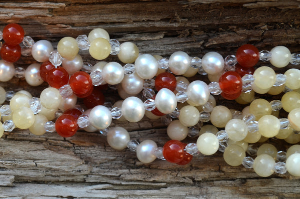 6mm Calcite, Carnelian & Pearl with Fire Polished Crystal