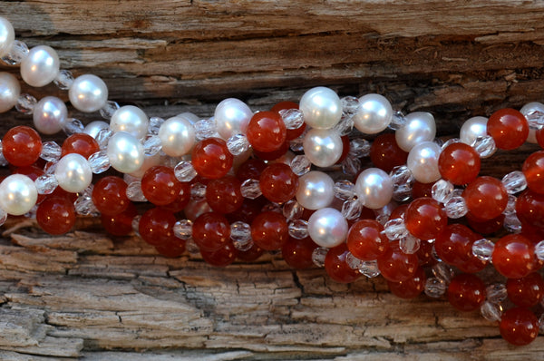 6mm Carnelian & Pearl with Czech Crystal