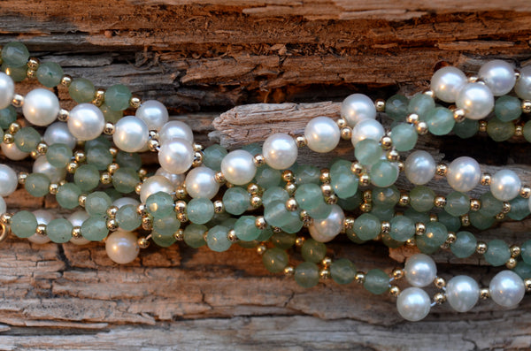 4mm Aventurine & Pearl with Gold-Fill