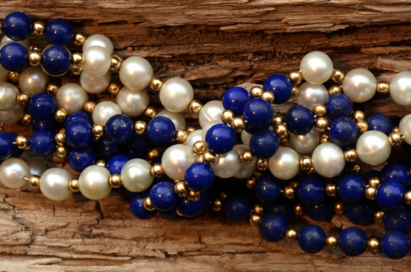 6mm Lapis & Pearl with Gold-Fill