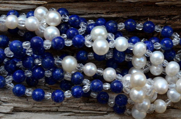 6mm Lapis & Pearl with Czech Crystal