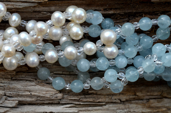 6mm Aquamarine & Pearl with Czech Crystal