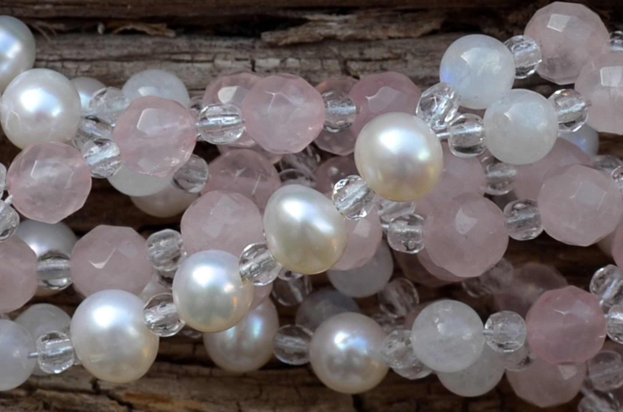 6mm Rose Quartz, Moonstone & Pearl with Czech Crystal