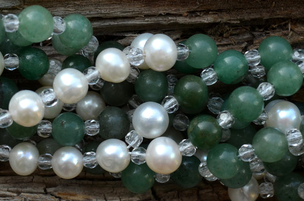 6mm Aventurine & Pearl with Czech Crystal