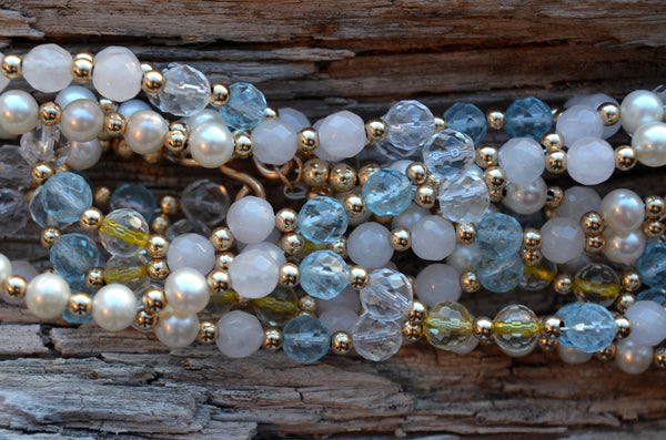 6mm Rose Quartz, Blue Topaz, Citrine, Quartz & Pearl with Gold-Fill
