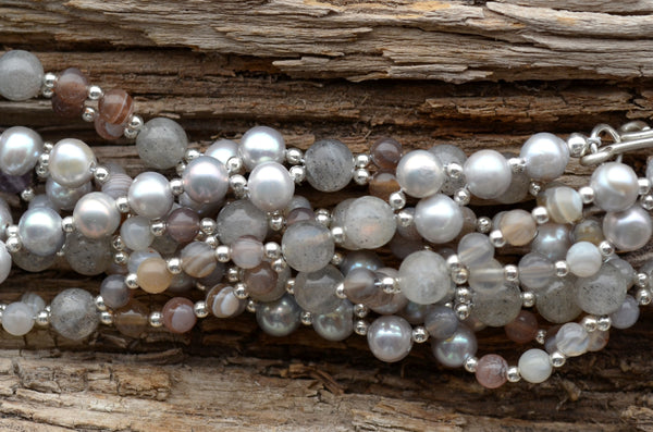 4mm Botswana Agate, 6mm Grey Pearl, 6mm Labradorite w/ Sterling Silver