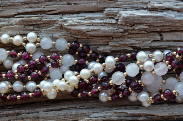 4mm Garnet, Rose Quartz & Pearl with Gold-Filled