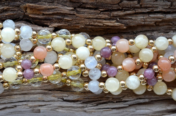 6mm Calcite, 4mm Lepidolite, 6mm Peach Moonstone, 6mm Citrine & 6mm Faceted Moonstone with Gold-Fill