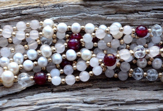 8mm Ruby Agate, Carved Quartz, 6mm Faceted Rose Quartz,  Smooth Rose Quartz, Pearl & Gold Filled
