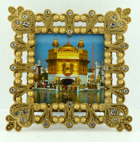 "Small Square 3 1/4"" Gold Crystal Framed Golden Temple"