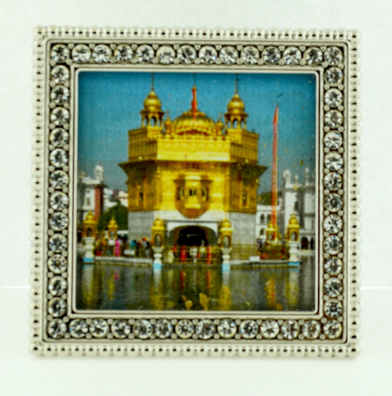 "Small Square 2 1/4""  Crystal Framed Golden Temple"