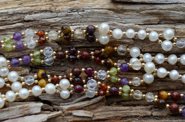 4mm Navratna: warm tones - Limited Edition - Garnet, Peridot, Pearls and more ... plus Gold-Filled