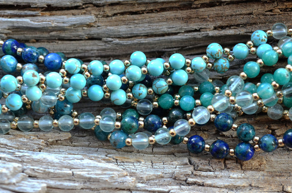 4mm Turquoise, Amazonite, Apatite, Chrysocolla & Fluorite with Gold-Filled