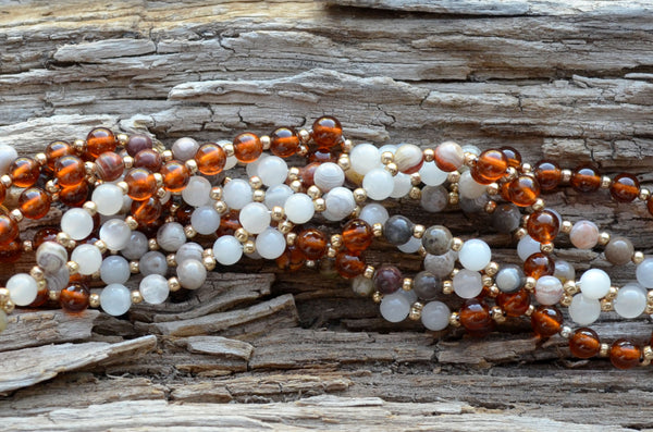 4mm Laguna Lace Agate, Moonstone & Hessonite with Gold Filled