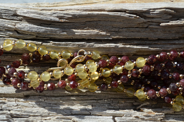 4mm Faceted Garnet & Yellow Fluorite with Gold-Fill