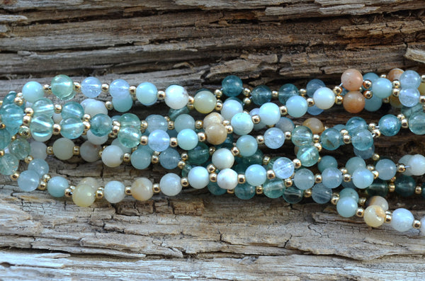 4mm Amazonite, Aquamarine & Apatite with Gold Filled