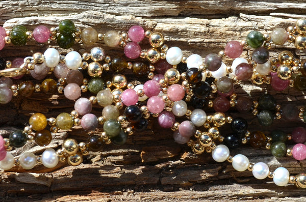4mm Tourmaline, Pearl & Gold Filled