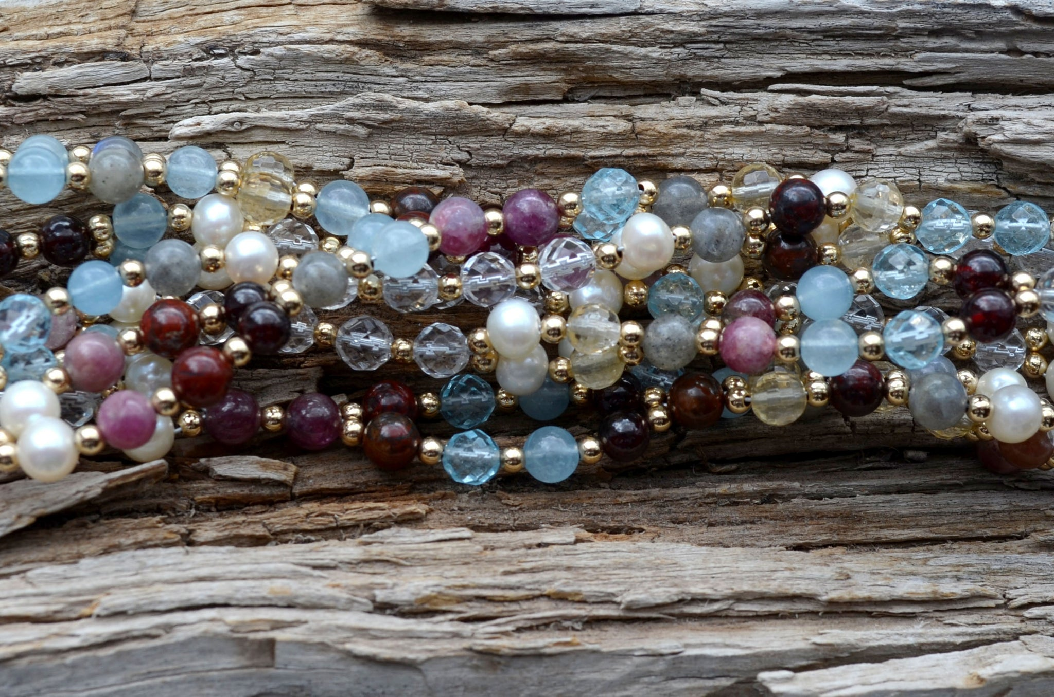6mm Navratna: cool tones - Limited Edition Aquamarine, Red Tourmaline, Blue Topaz and more ... plus Gold Filled